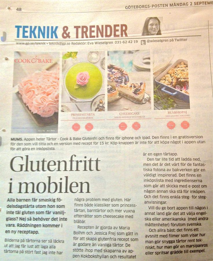 Artikel om @Kristin Yager Cook & Bake Gluten Free i GP. @Jess Pearl Liu Frej @Mariajblohm #tårtor #tårta #glutenfri #bakning #baka #celiaki