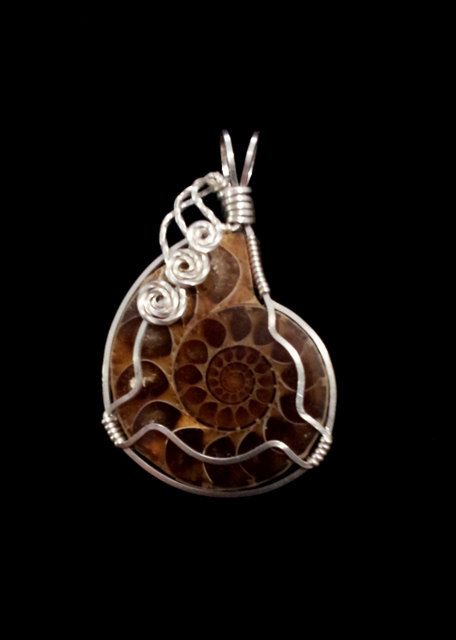 Ammonite Fossil Cabochon Handmade Wire Wrapped in Silver Pendant