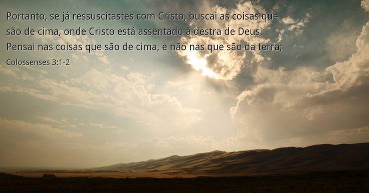 Portanto, se já ressuscitastes com Cristo, buscai as coisas que são de cima, onde Cristo está assentado à destra de Deus.Pensai nas coisas que são de cima, e não nas que são da terra;Colossenses 3:1-2