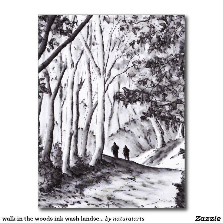 walk in the woods ink wash landscape drawing postcard