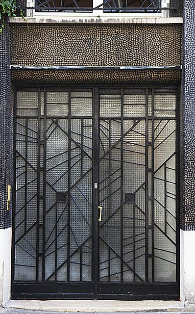 Art Deco door to the artists' studios at 5 Rue du Dr Blanche, designed by Pierre Patout.