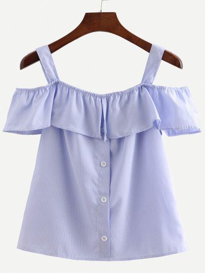 Camiseta de rayas verticales de volante con tiras -azul-Spanish SheIn(Sheinside)