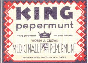 Beeldmerk KING (Kwaliteit In Niets Geëvenaard) na 1950. Oorspronkelijk ontwerp Boricius van Borssum Waalkes, 1927.