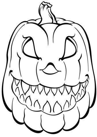 spooky Halloween pumpkin coloring pages | Pumpkin coloring ...