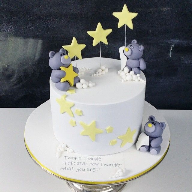 Gender Reveal Cake -  A magical cloudy sky with playing teddy bears, waiting to reveal the gender of the newest member to the family, a surprise even to Mummy and Daddy