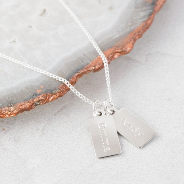 Personalised Sterling Silver Teeny Tiny Tag Pendant