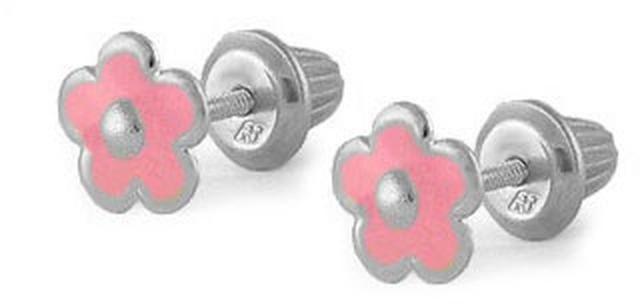 Ice Silver Pink Enameled Flower Screw Back Children's Earrings For Girls