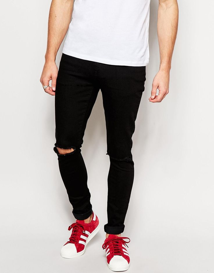 Brooklyn Supply Co Jeans Super Skinny Fit Clean Black Ripped Knee