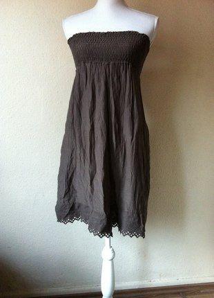 Bandeau Kleid Schokobraun Aus Italien Seiden Baumwollmischung 36/38