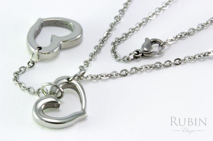 Nemesacél szív motívumos Y nyaklánc  www.rubinekszer.hu