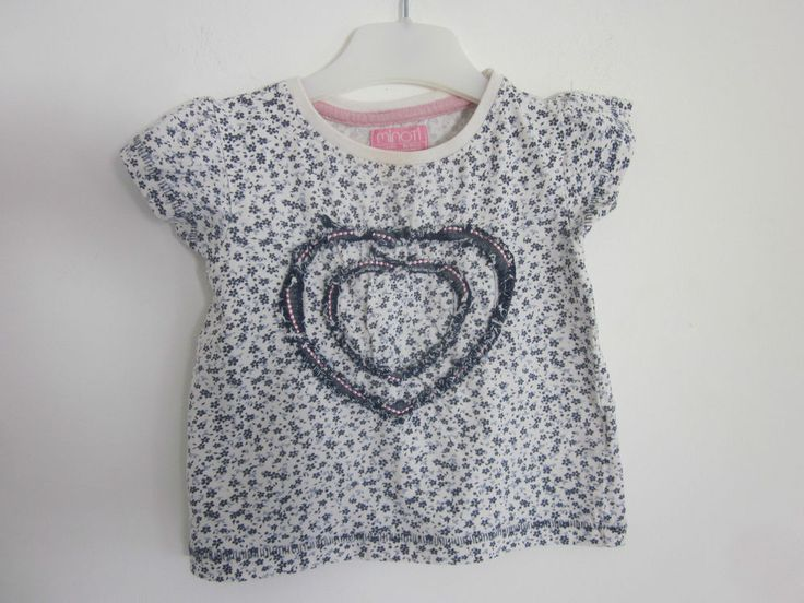 Baby girls Minoti blue & white heart & flowers themed top, 12-18 months