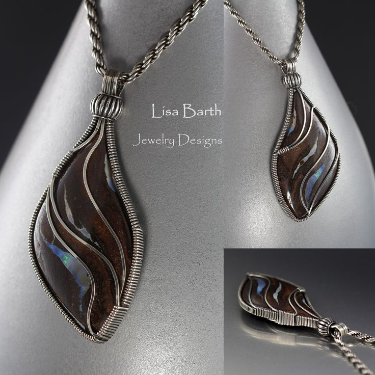 I found this beautiful boulder Opal in Tucson with lovely curves so I decided to wire wrap it in a way that shows off the stone the best way I could. It is reversible, the back was so beautiful too so I carefully placed the wires on the back too to enhance the natural movement of the stone.