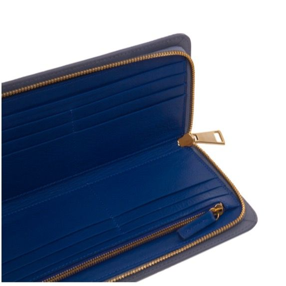 MUANGA | Grace Continental Wallet in blue serenity grain leather with interior details hot blue calf leather.