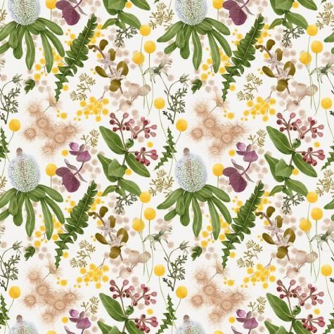 With an earth palette combining smudgy greens, soft crumbly browns and sunshine yellow, Louise began the design with a series of delicate hand painted botanical motifs using foraged native plants and flowers