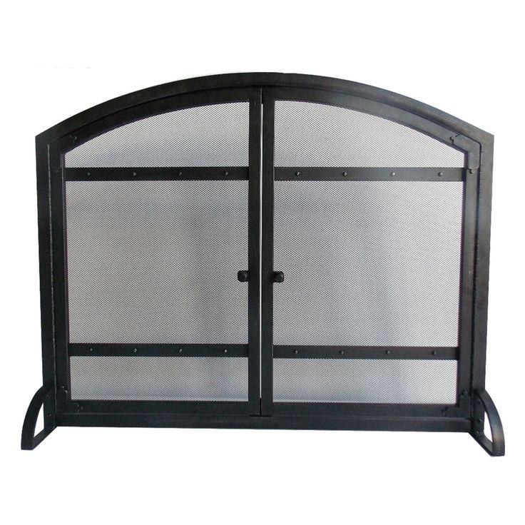 Pleasant Hearth FA338S Harper 1-Panel Fireplace Screen with Doors - Antique Black Finish - FA338S