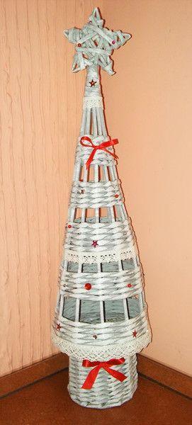 Choinka z wikliny papierowej szaro-biała 58cm - mili-design - Dekoracje bożonarodzeniowe