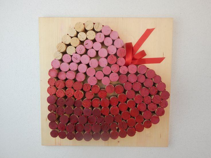 """Grande cuore di tappi sughero """"TONI DEL ROSSO"""" pannello da parete - pannello da parete - quadro in legno - home decor di LUCIDELNORD su Etsy"""