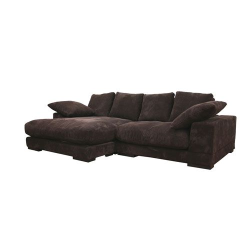Choxi  Dark Brown Fabric Sofa and Chaise Set