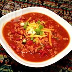 Chili mexicano de carne moída @ allrecipes.com.br - Uma sopa de feijão com carne moída, o chili é ótimo pra servir em dias frios.