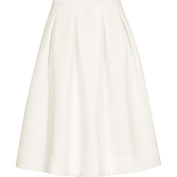 Reiss Newton Pleated Full Midi Skirt (£81) ❤ liked on Polyvore featuring skirts, bottoms, faldas, cream, high waist skirt, high waisted pleated skirt, white high waisted skirt, cream midi skirt and white knee length skirt