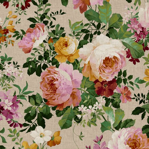 Dekorační látka Velké barevné růže na režné