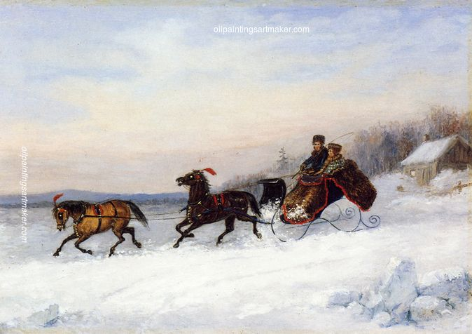 Cornelius Krieghoff Sleigh Scene, painting Authorized official website