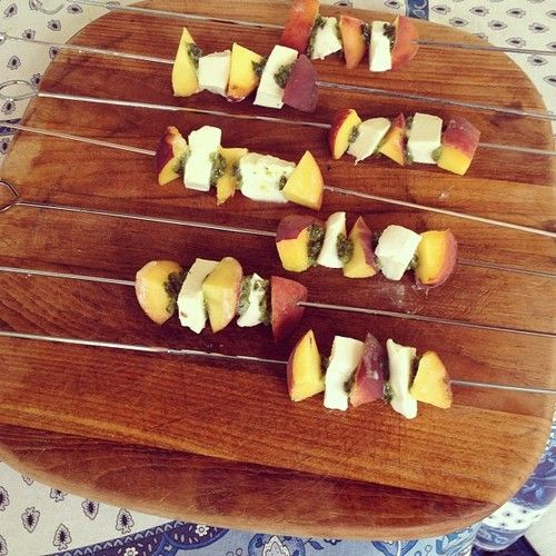Peach Caprese Skewers. An easy 3-ingredient hors d'oeuvre