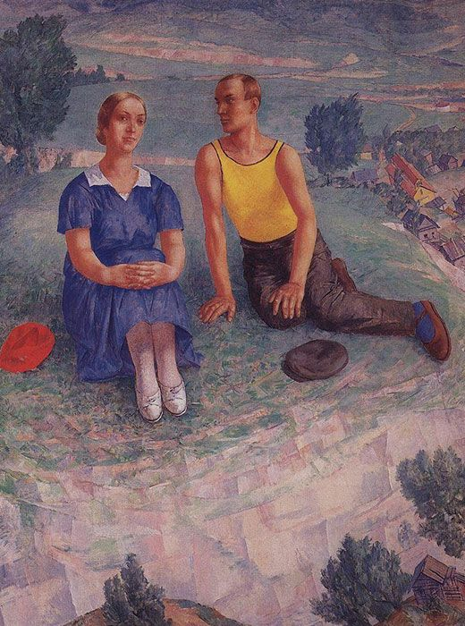 For Petrov-Vodkin, this represents an unusual vision of spring. The artist depicts a spring, already green landscape. In later years, he moved away from abstract painting and tried to express his thoughts through images of ordinary people, who are the heroes of his paintings. / Spring 1935, Kuzma Petrov-Vodkin