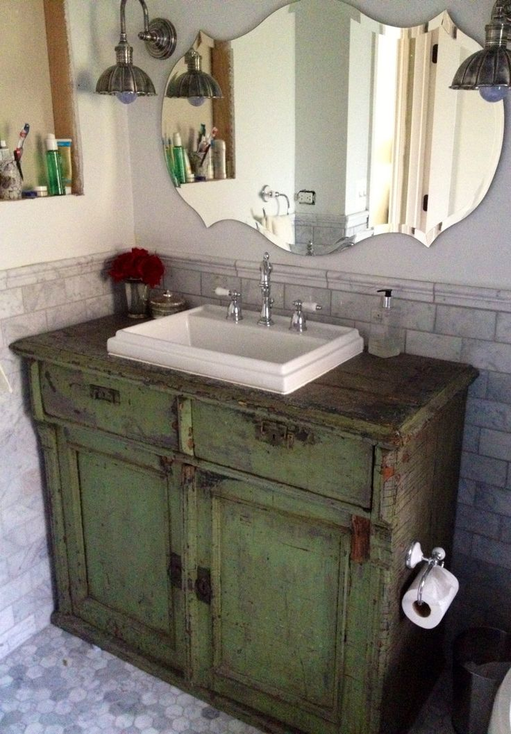 Antique Server Used As A Bathroom Vanity.