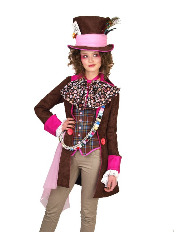 Ladies Tim Burton Mad Hatter Fancy Dress Costume | eBay