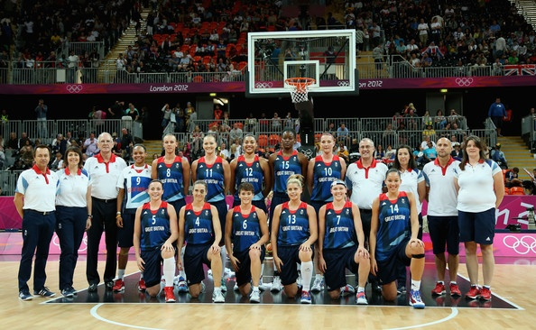 Team Great Britain poses for a photo before playing against Australia during Women's Basketball on Day 1 of the London 2012 Olympic Games at the Basketball Arena on July 28, 2012 in London, England.