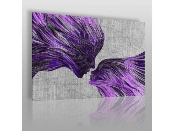 Taniec żywiołów w fioletach - nowoczesny obraz na płótnie