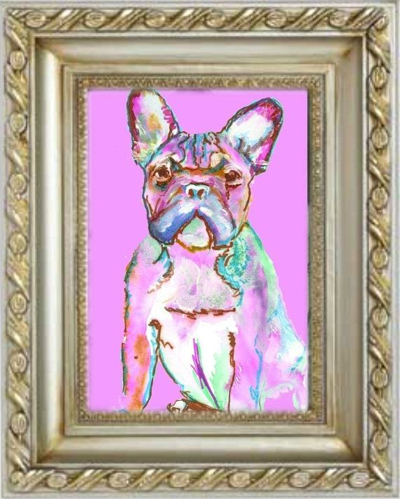 PINK French Bulldog CANVAS Print from Original Frenchie Dog painting, Pink home decor, French bulldog gift idea by… #dogs #pets #puppy