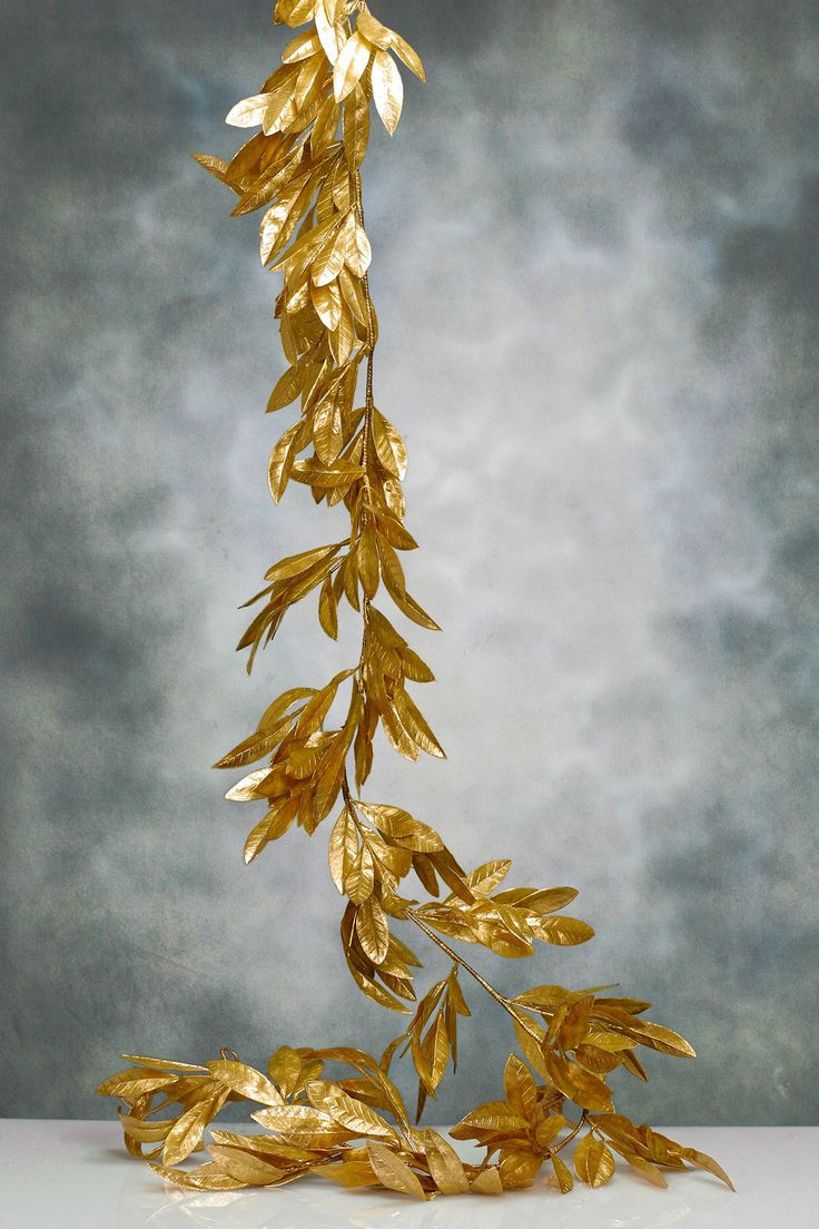 Bay Leaf Garland Gold 6ft Christmas Ornamental