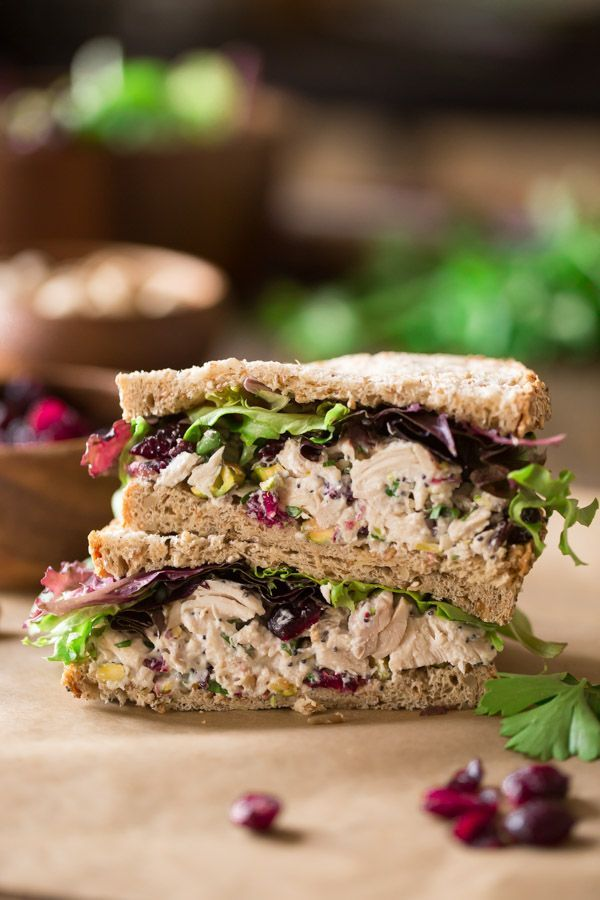 Cranberry Pistachio Chicken Salad Sandwich - Lightened up chicken salad with tangy sweet dried cranberries and crunchy pistachios!