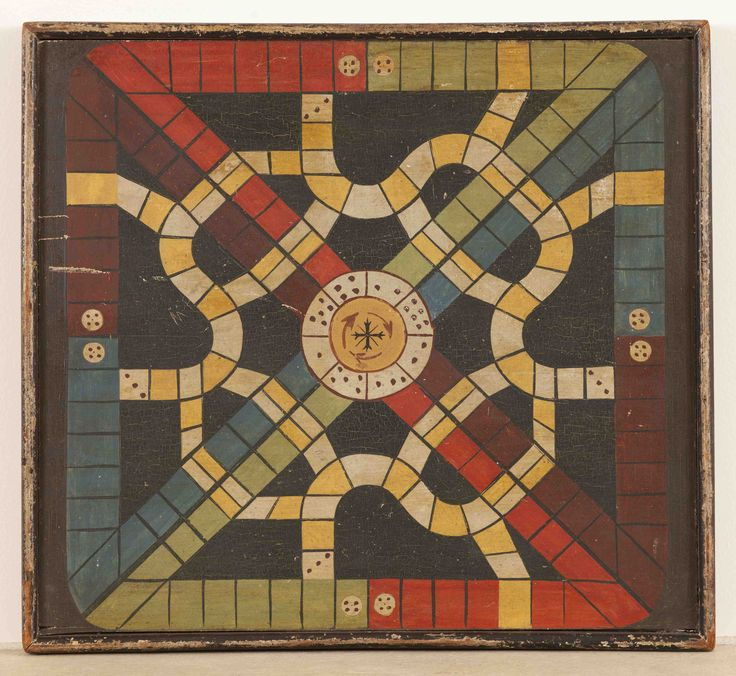 "GAME BOARD/ Artist unidentified, United States, probably New England 1880–1900, paint on wood, and iron, 1 1/2 x 18 1/2 x 16 3/4"", Barbara L. Gordon collection. Photo courtesy of the Barbara L. Gordon Collection"