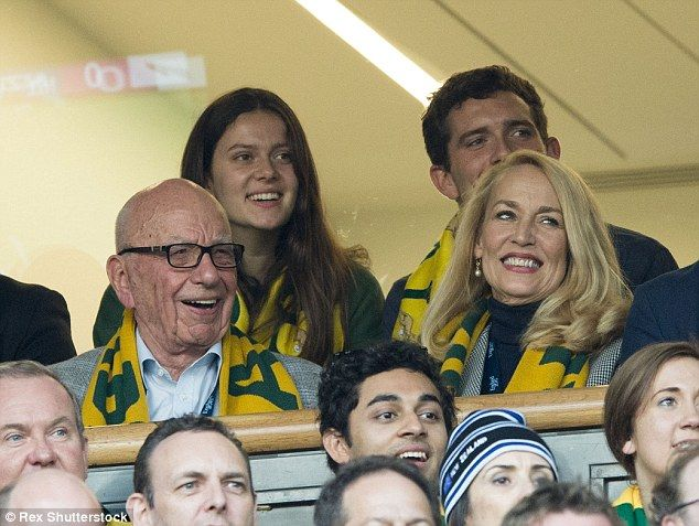 Rupert Murdoch appeared in very good spirits as he watched the World Cup final with his ne...
