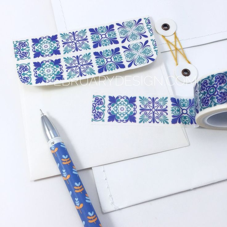 Beautiful mosaic patterns washi tape, I used it on the back flap of the envelope and I love the outcome =) Use these tapes as a border to make unique scrapbook pages! This tape has the perfect amount