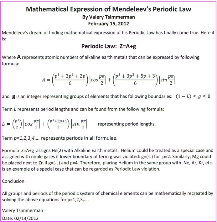 Mathematical Expression of Mendeleev's Periodic Law, by Valery Tsimmerman (2012)