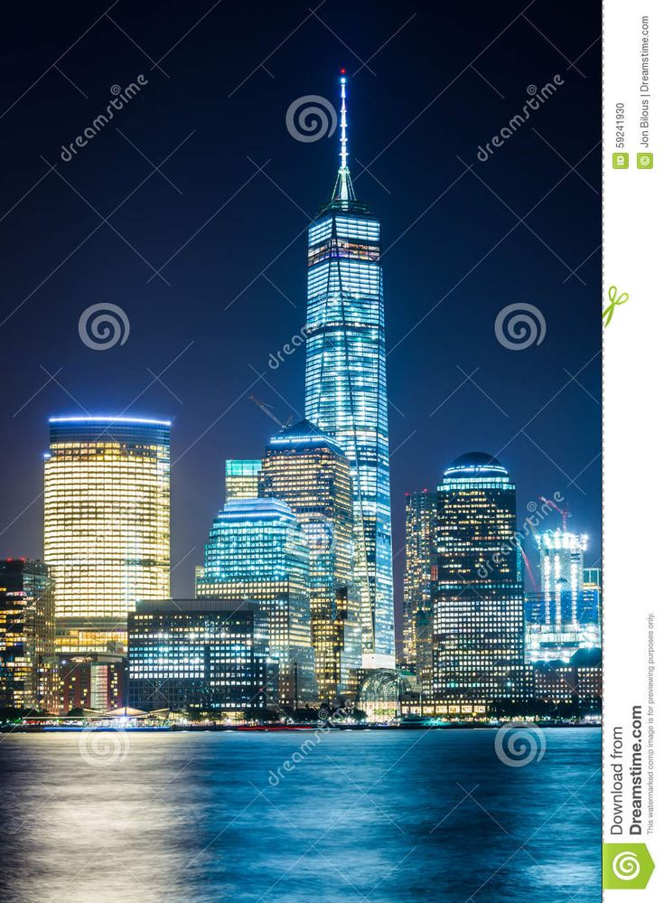 View Of The Lower Manhattan Skyline At Night, From Exchange Plac Stock Photo - Image: 59241930