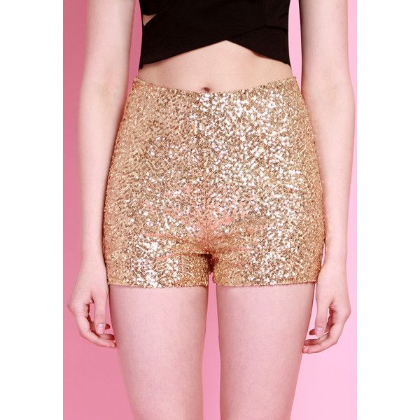 Gold Sequined Shorts (35 AUD) ❤ liked on Polyvore featuring shorts, sequin shorts, gold sequin shorts and gold shorts
