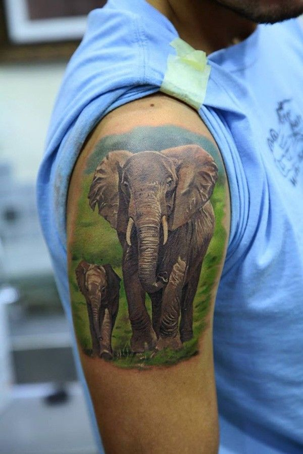 a beautiful picture of elephant life tattoo - 100 Amazing Elephant tattoos