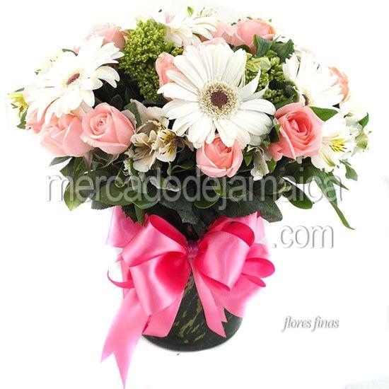 Arreglo con Gerberas Blancas Océano Rosa !| Envia Flores