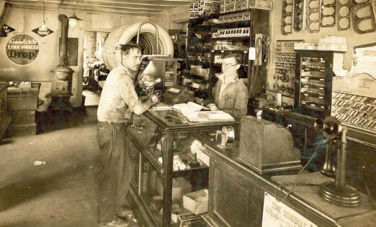 Old Photo - At The Auto Parts Store Counter