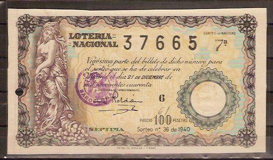 Lotería sorteo 36 de 1940 Navidad