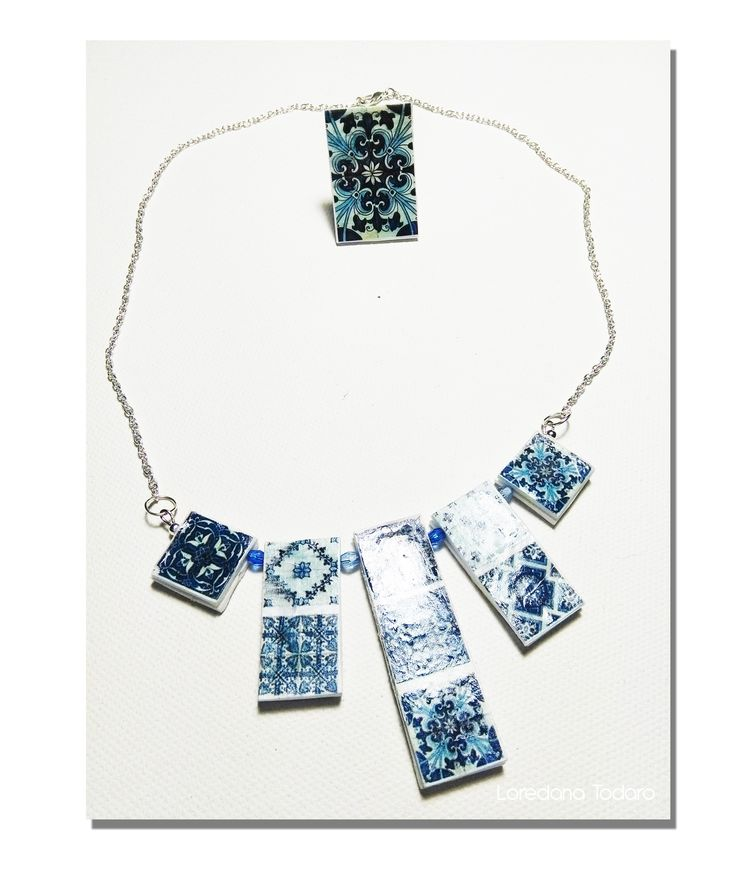 #paper #jewellery #necklace and #ring #azulejos #Portuguese#Tiles