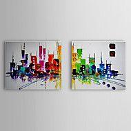 lukisan minyak abstrak set pemandangan kota dari ... – USD $ 75.99