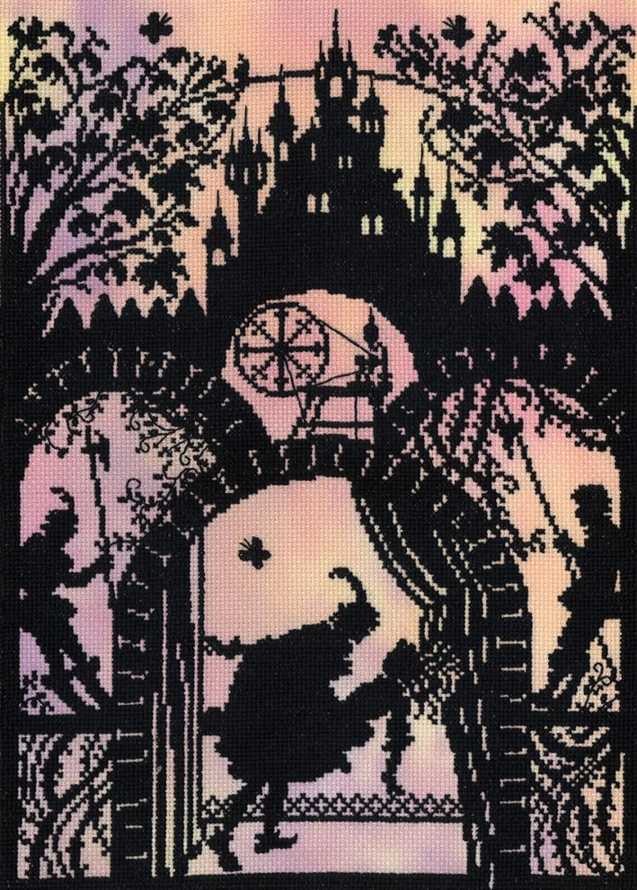 Sleeping beauty silhouette cross stitch