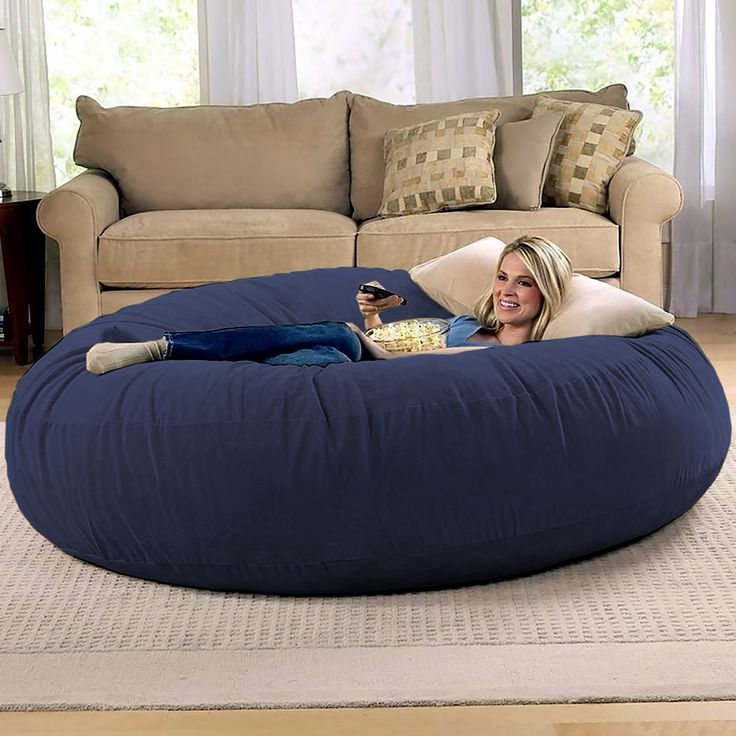 Jaxx 6 Foot Cocoon - Large Bean Bag Chair for Adults, Navy ...