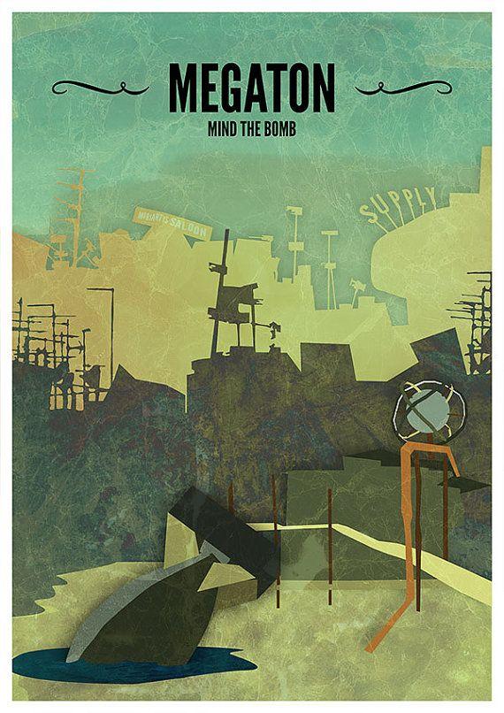 Megaton // Fallout 3 Poster Fallout Print Video by CtrlAltGeek